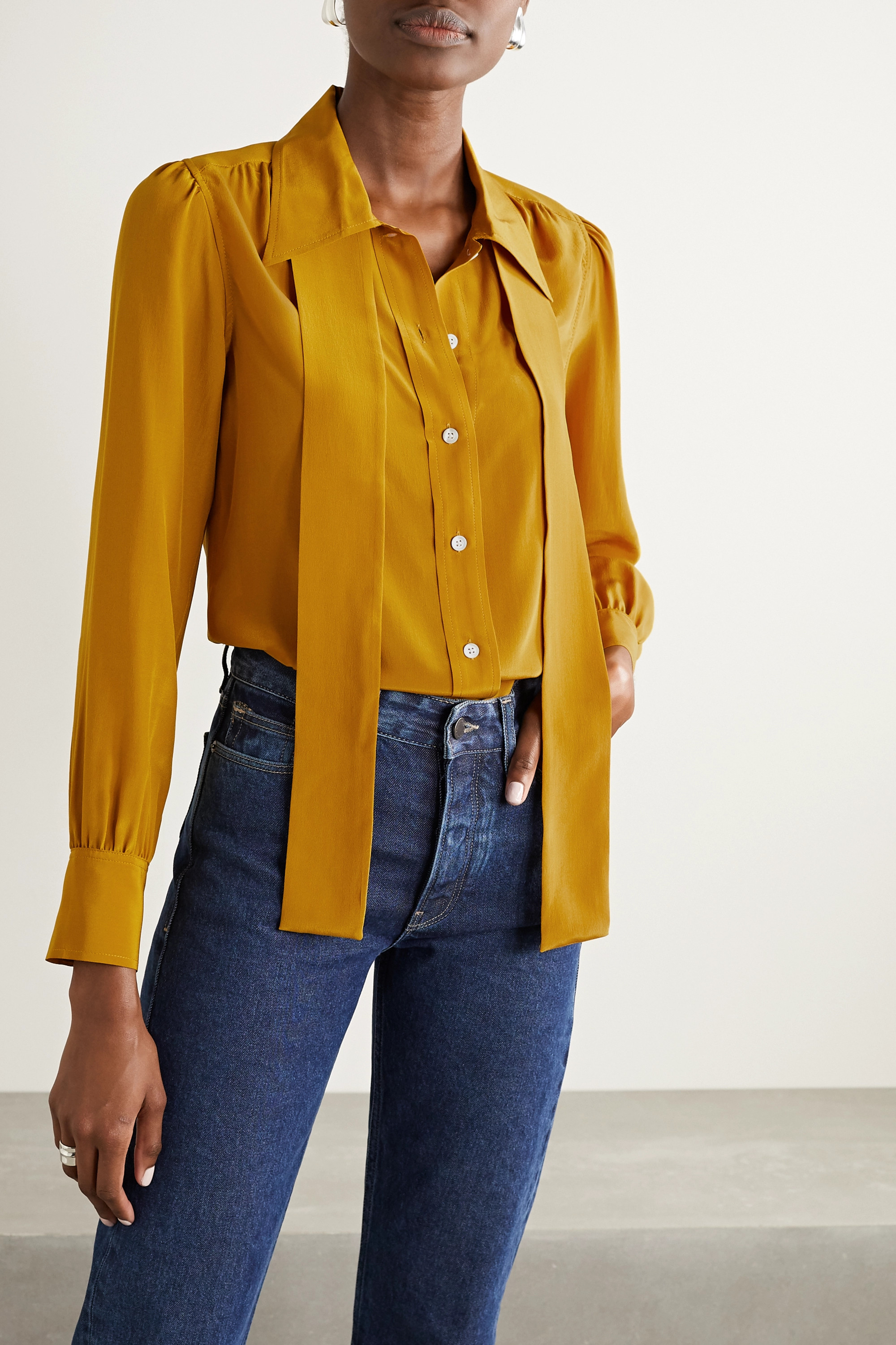 RE/DONE Pussy-bow silk shirt