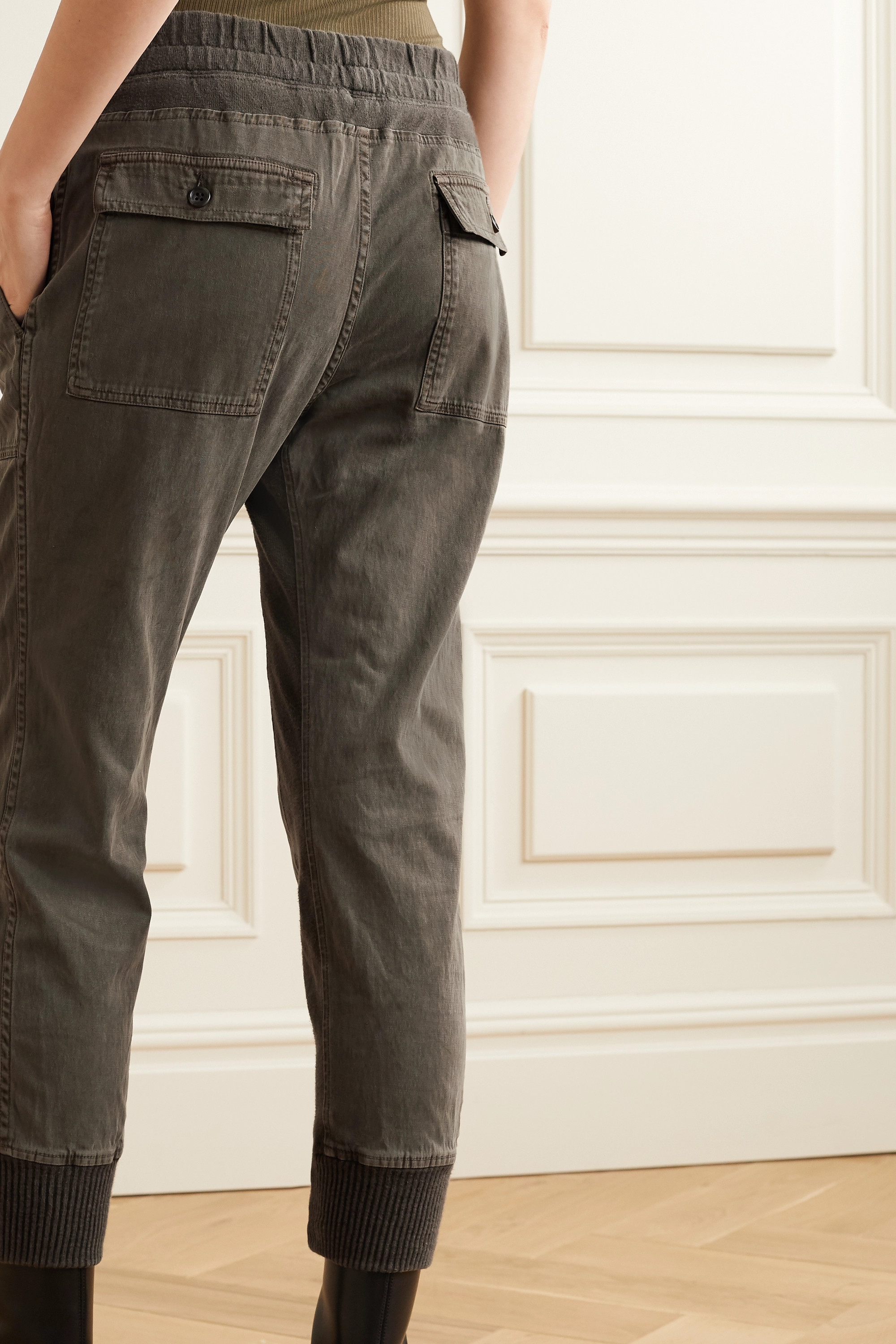James Perse Jersey-trimmed cotton-twill track pants
