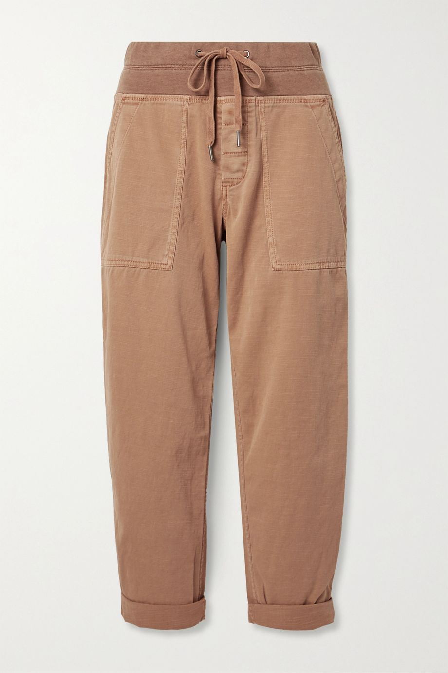 James Perse Pantalon treillis raccourci en serge de coton mélangé