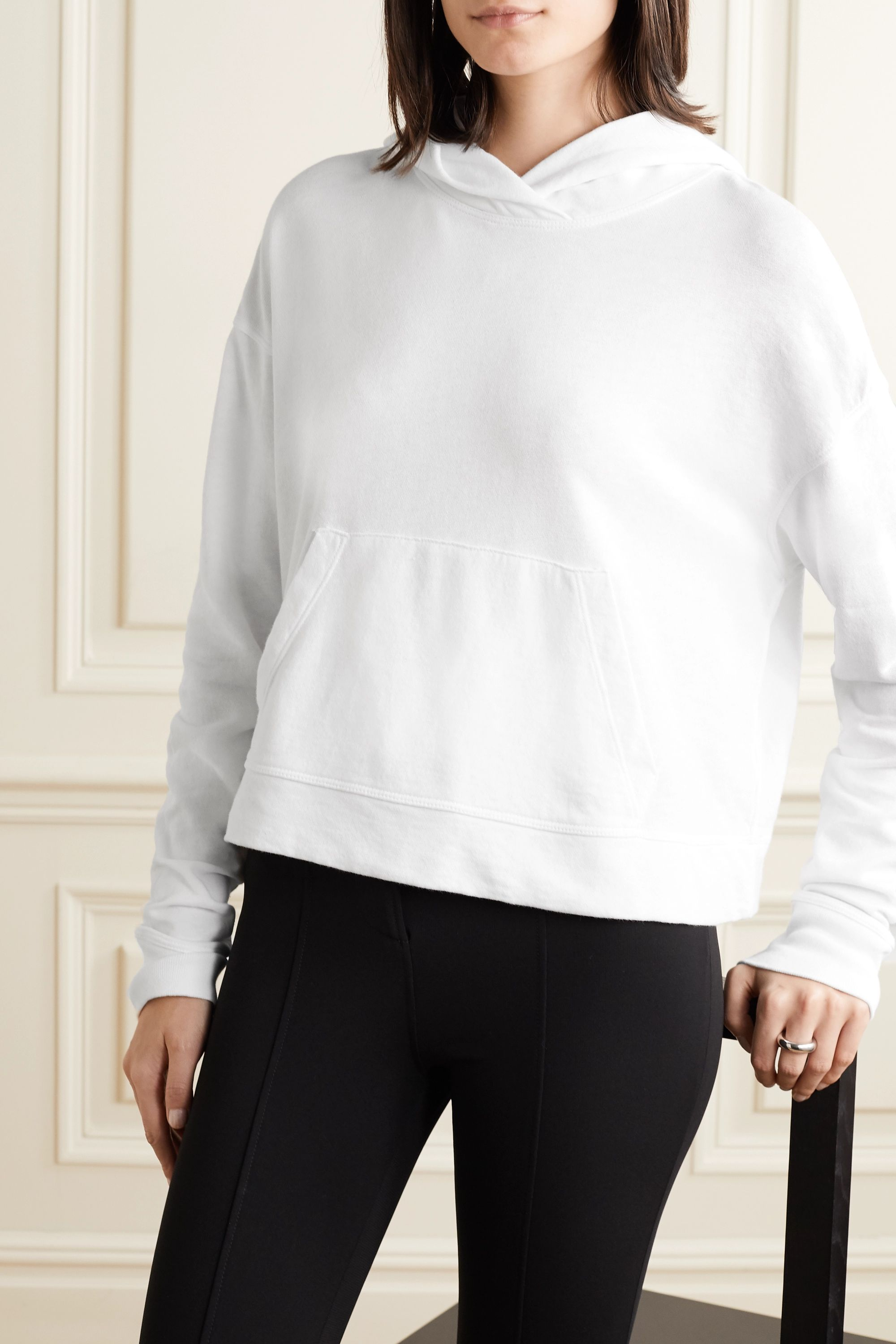 James Perse Cropped cotton-jersey hoodie