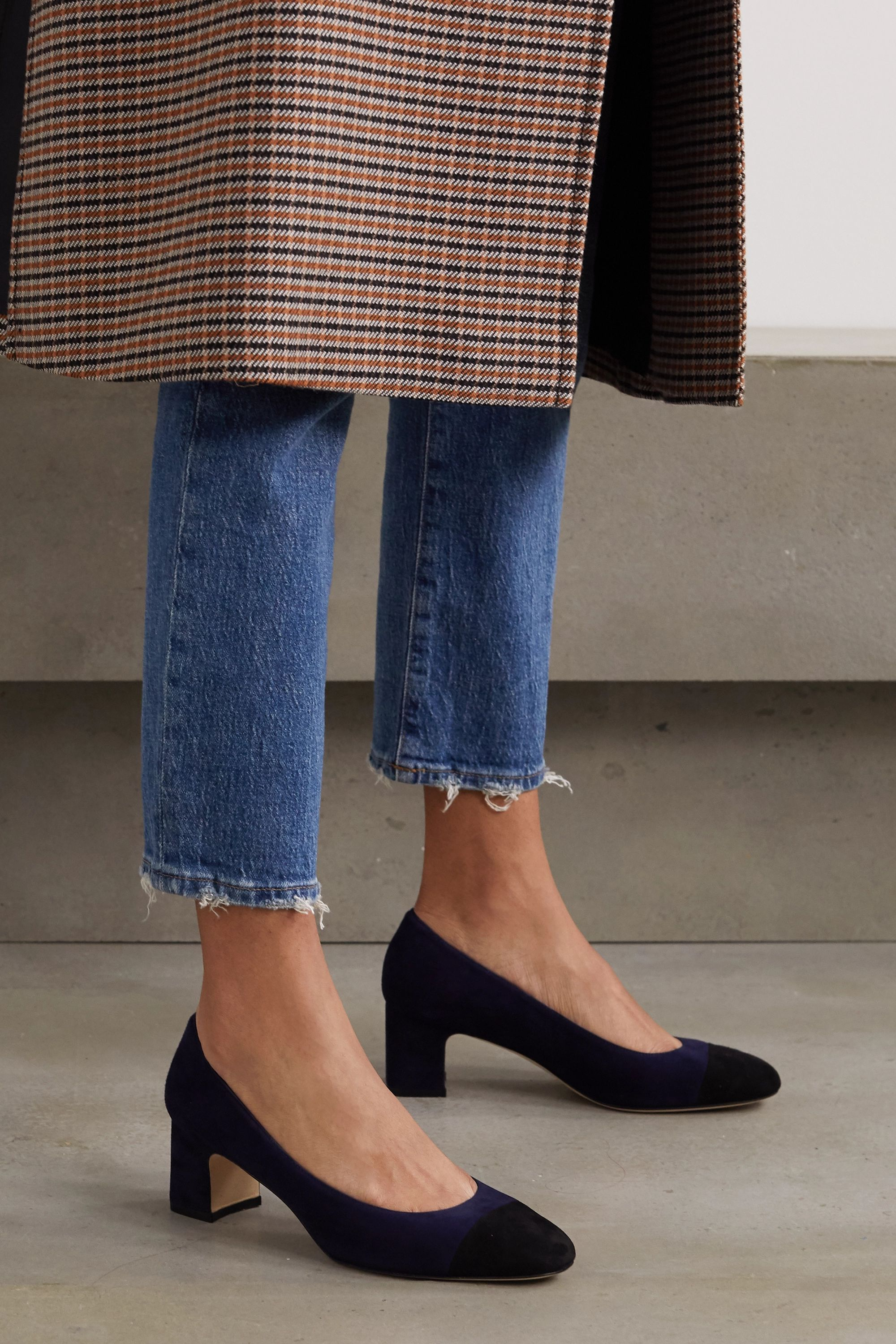 Navy Loriana two-tone suede pumps