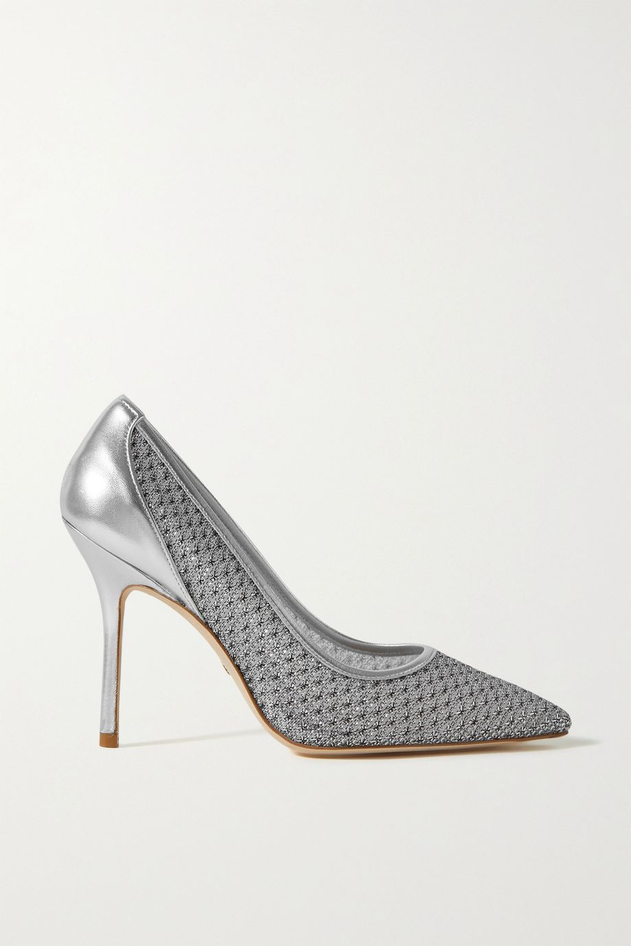 Stuart Weitzman Tasha metallic mesh and leather pumps