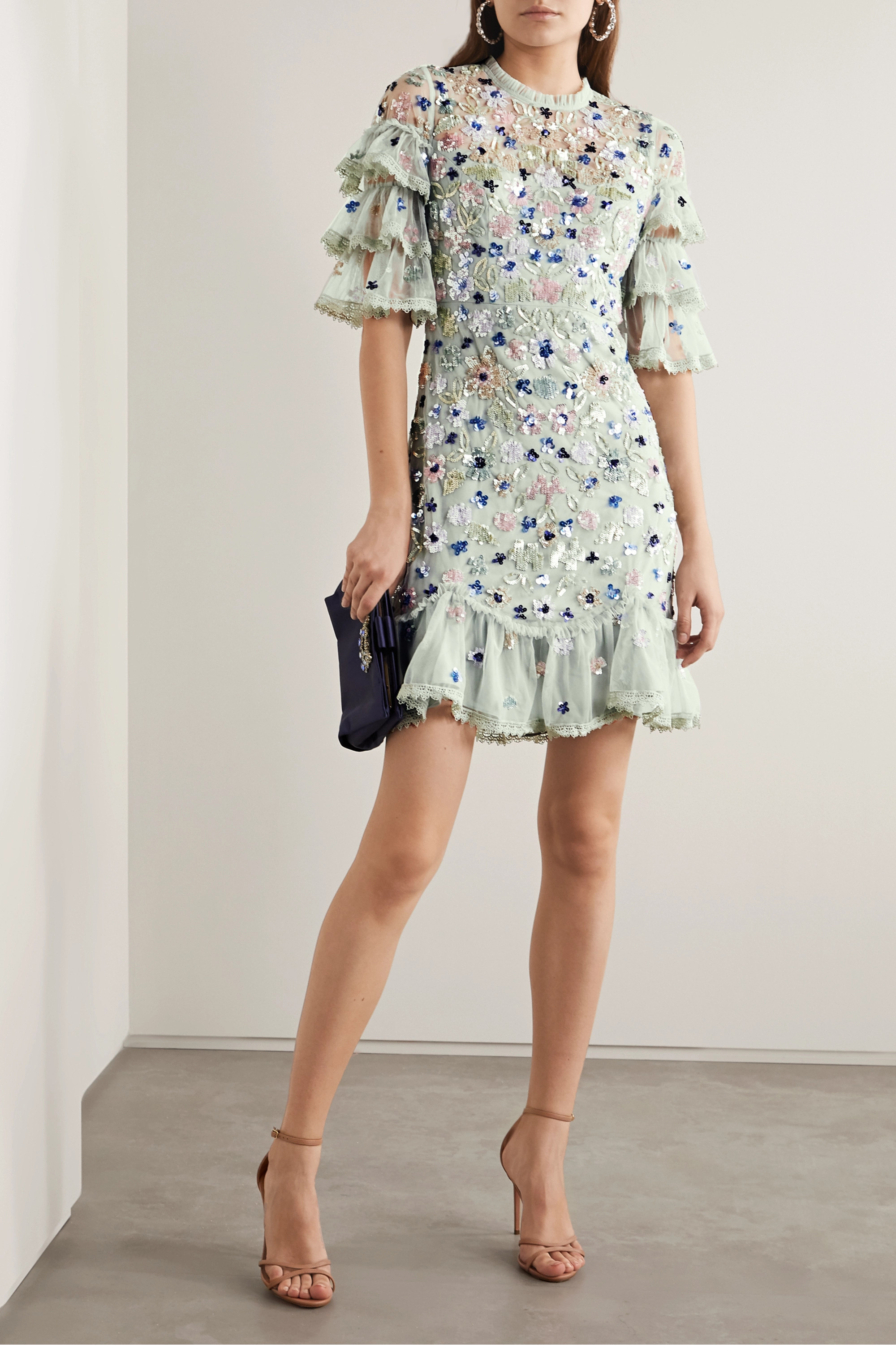 Needle & Thread Meadow ruffled crochet-trimmed sequined tulle mini dress