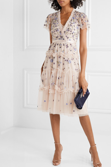 Prairie Flora Ruffled Embellished Embroidered Tulle Dress by Needle & Thread