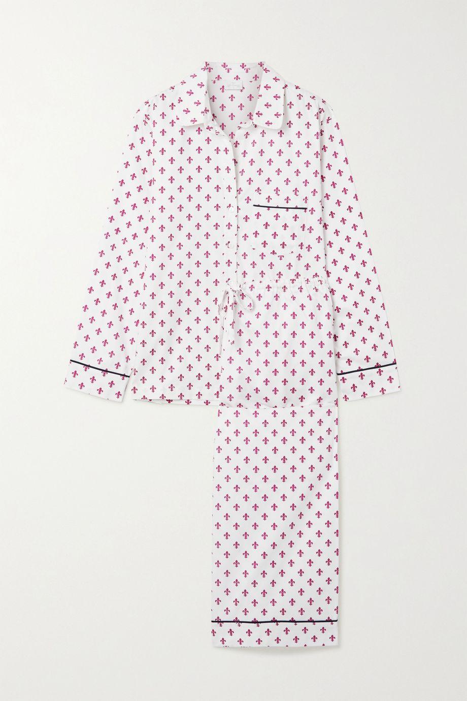 Pour Les Femmes Printed cotton-sateen pajama set
