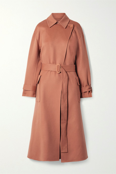 Antique rose Belted cashmere trench coat | Loro Piana nlhrvm