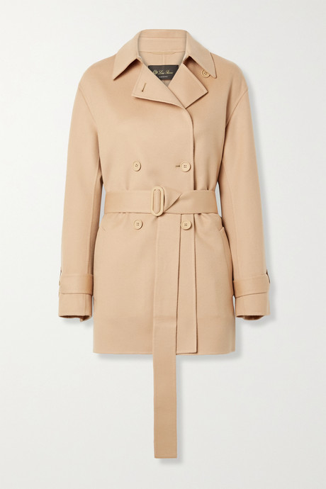 Antique rose Belted leather-trimmed cashmere jacket | Loro Piana acDdQa