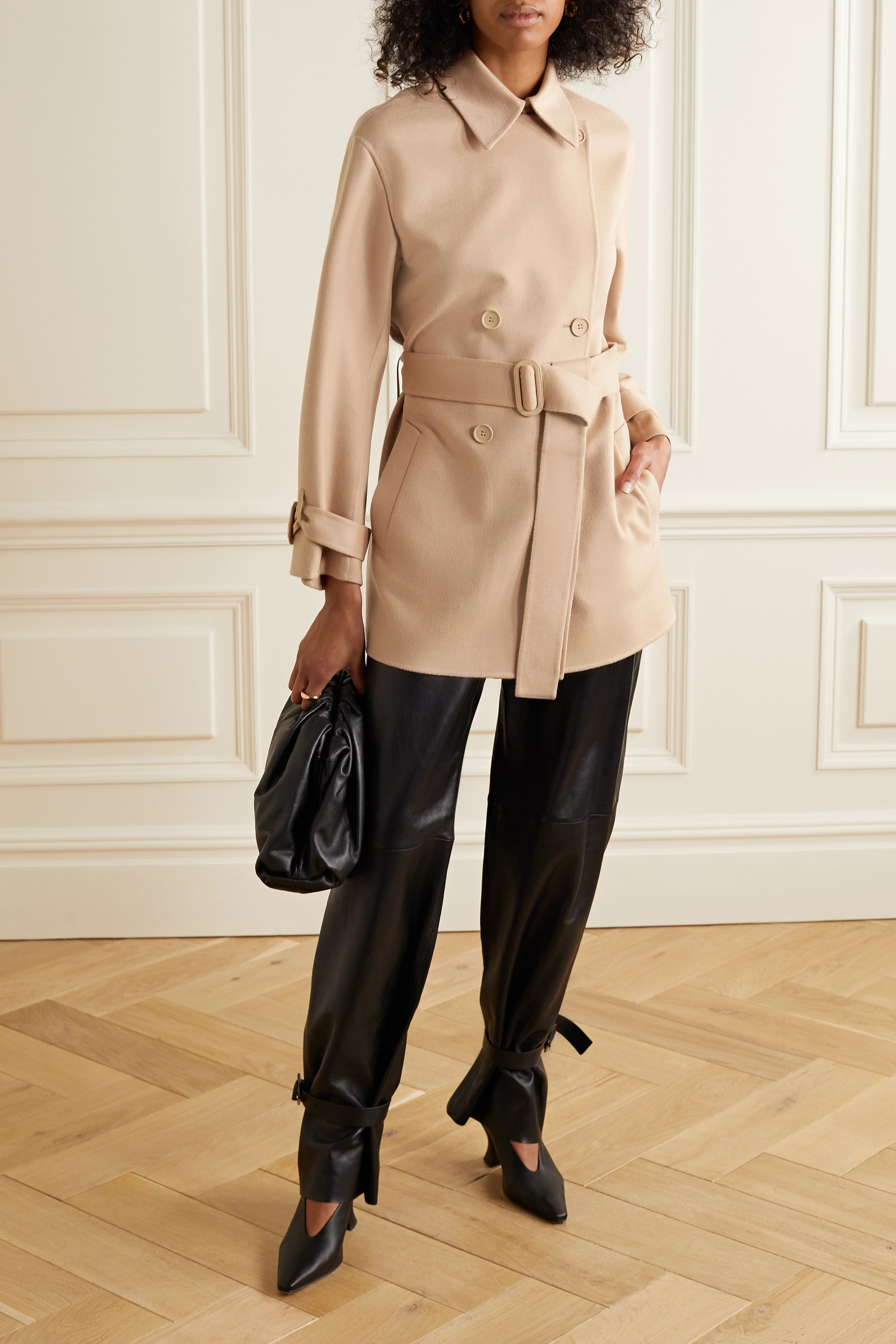 Loro Piana Belted leather-trimmed cashmere jacket