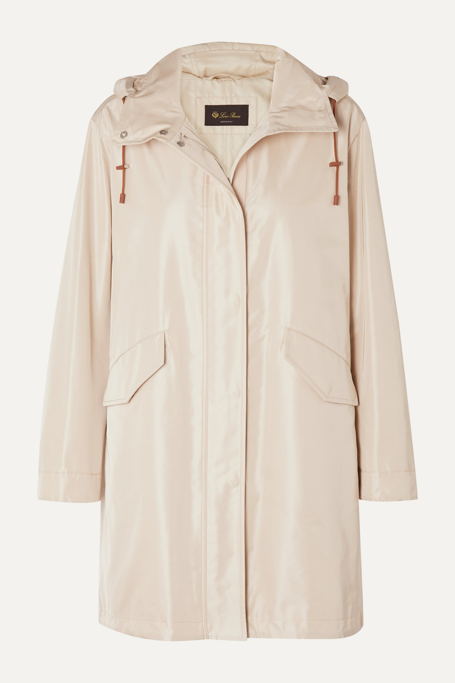 Loro Piana Headley hooded matte-satin raincoat