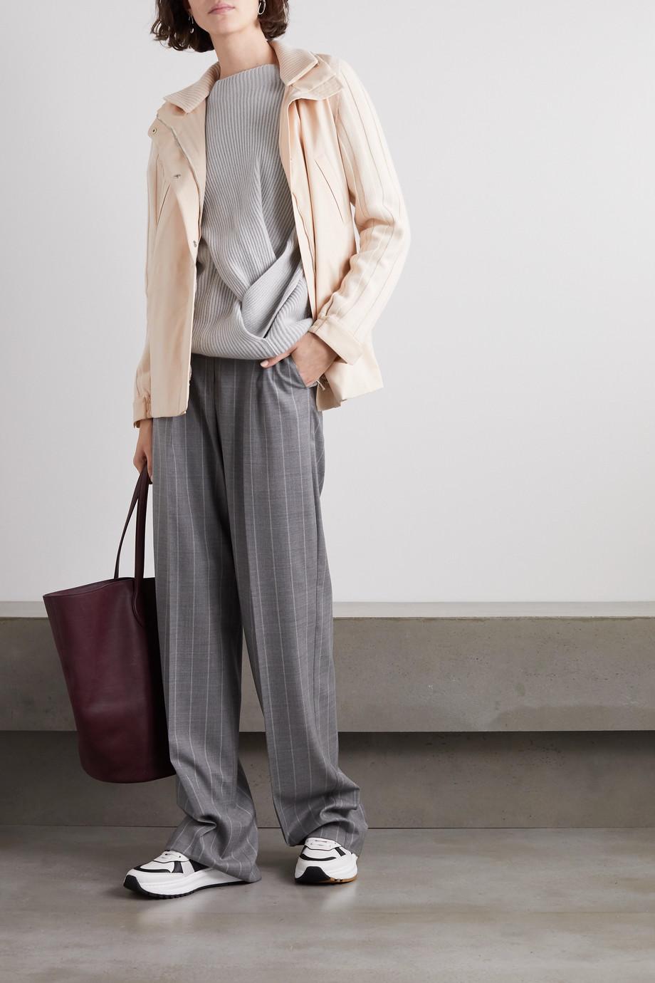 Loro Piana Veste à capuche en cachemire côtelé et en tissu technique Paddington