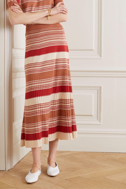 Loro Piana Tangery Midirock aus einer Seiden-Baumwollmischung mit Streifen