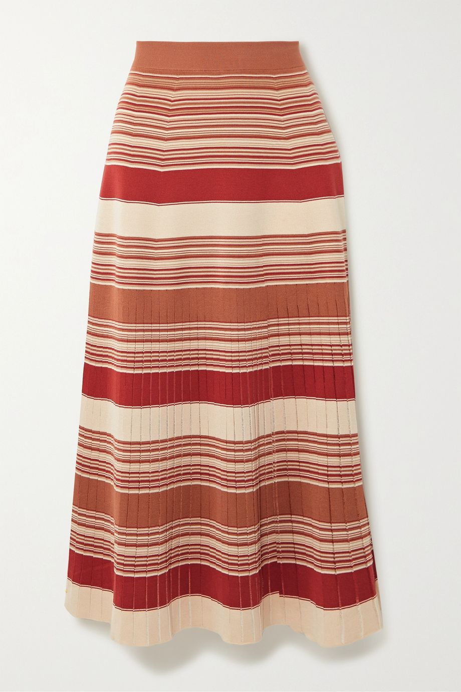 Loro Piana Tangery striped silk and cotton-blend midi skirt