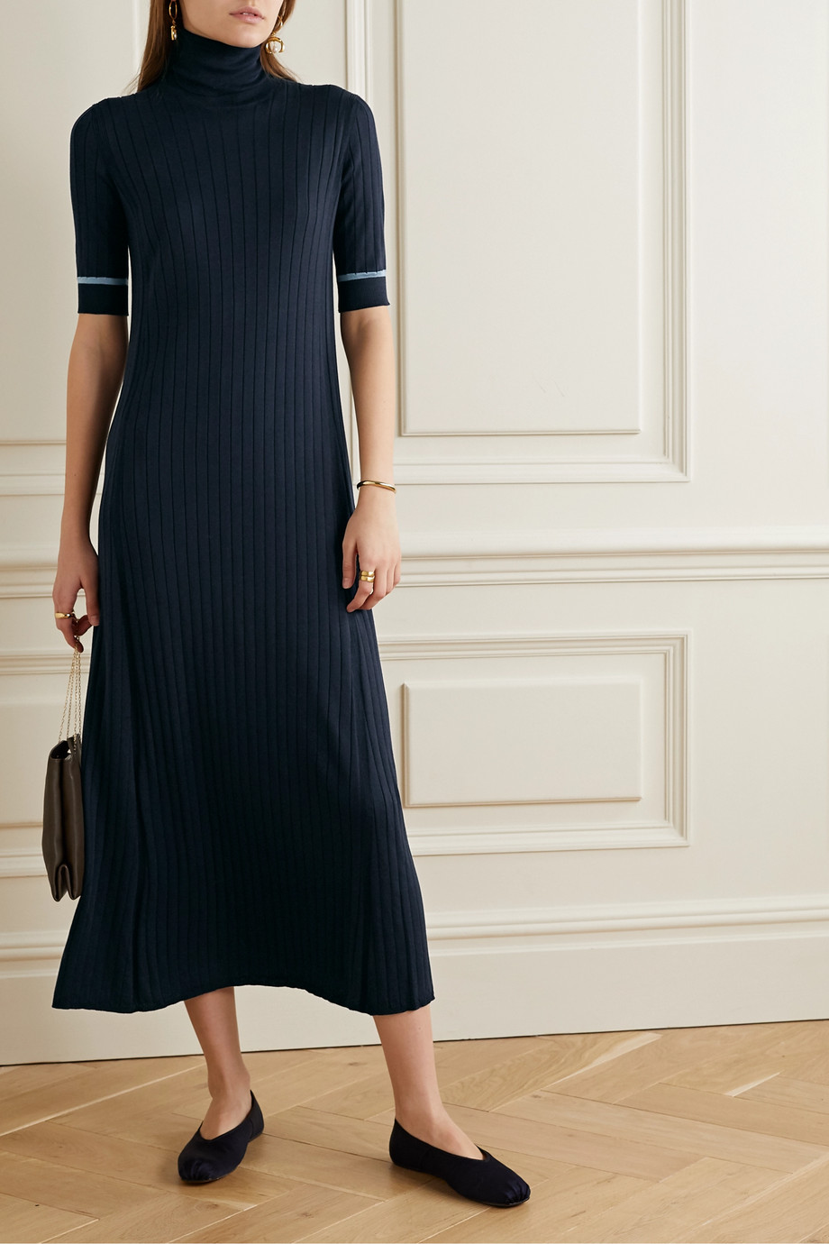 Loro Piana Ribbed silk and cotton-blend turtleneck midi dress