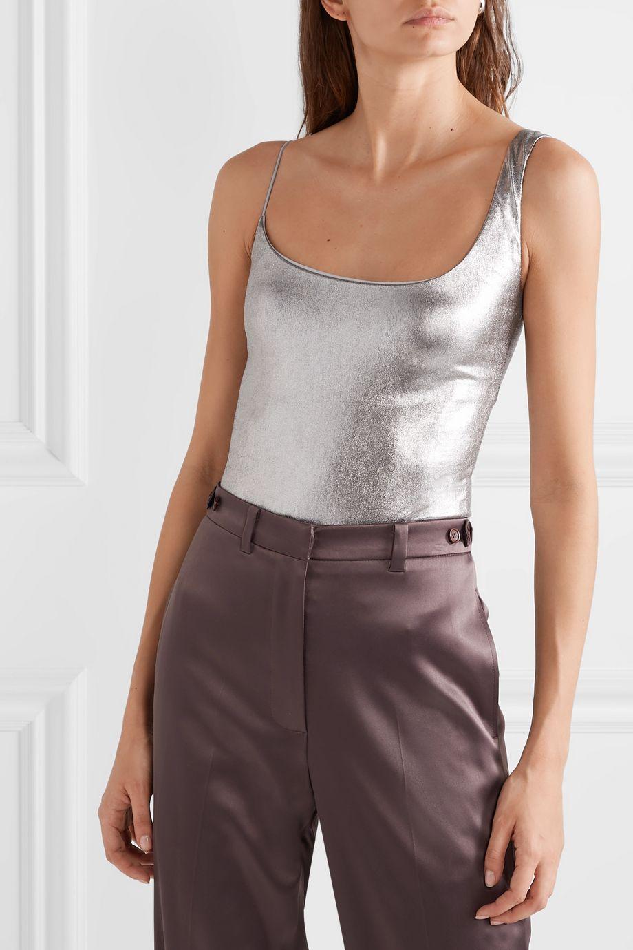 Alix NYC Gracie asymmetric metallic stretch-modal thong bodysuit