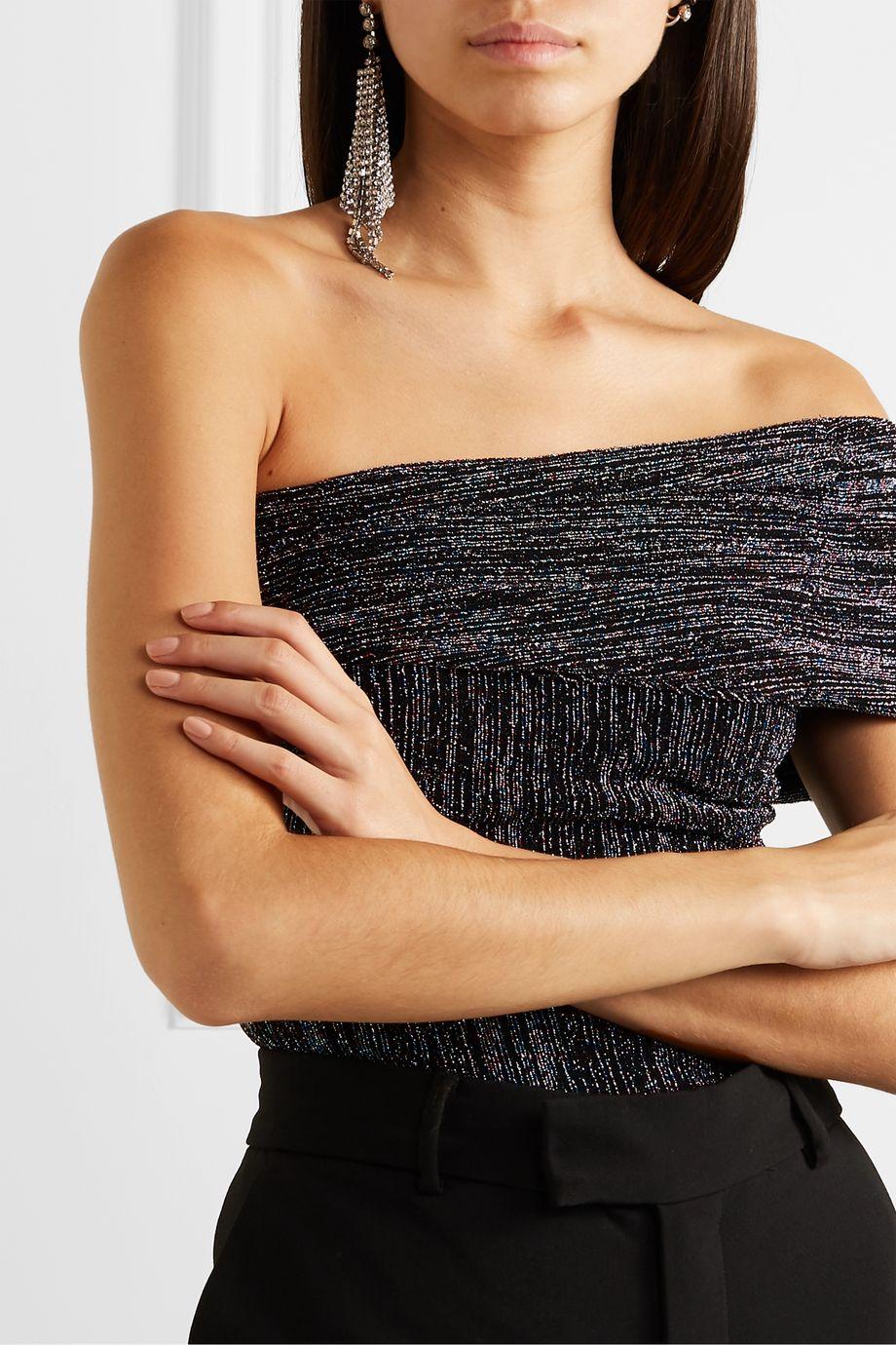 Alix NYC Aurelia one-shoulder metallic stretch-jersey thong bodysuit
