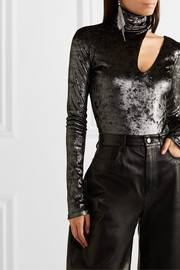 Alix NYC Houston cutout metallic stretch-knit turtleneck thong bodysuit