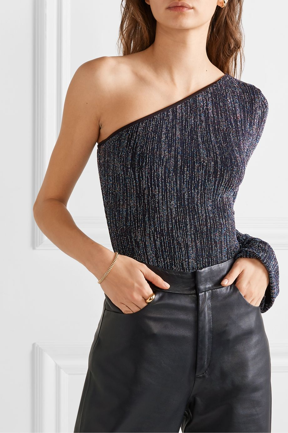 Alix NYC Eldridge one-sleeve metallic stretch-knit thong bodysuit