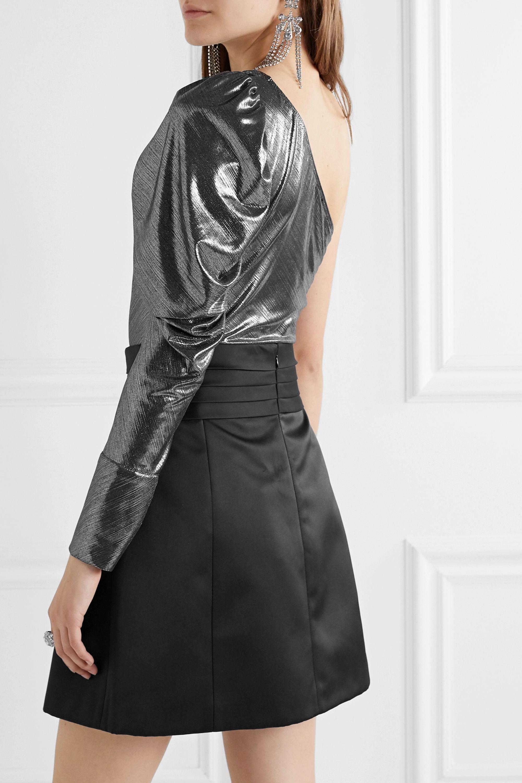 Alix NYC Dakota one-shoulder stretch-lamé bodysuit