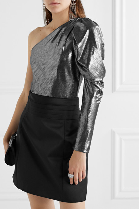 Dakota one-shoulder stretch-lamé bodysuit