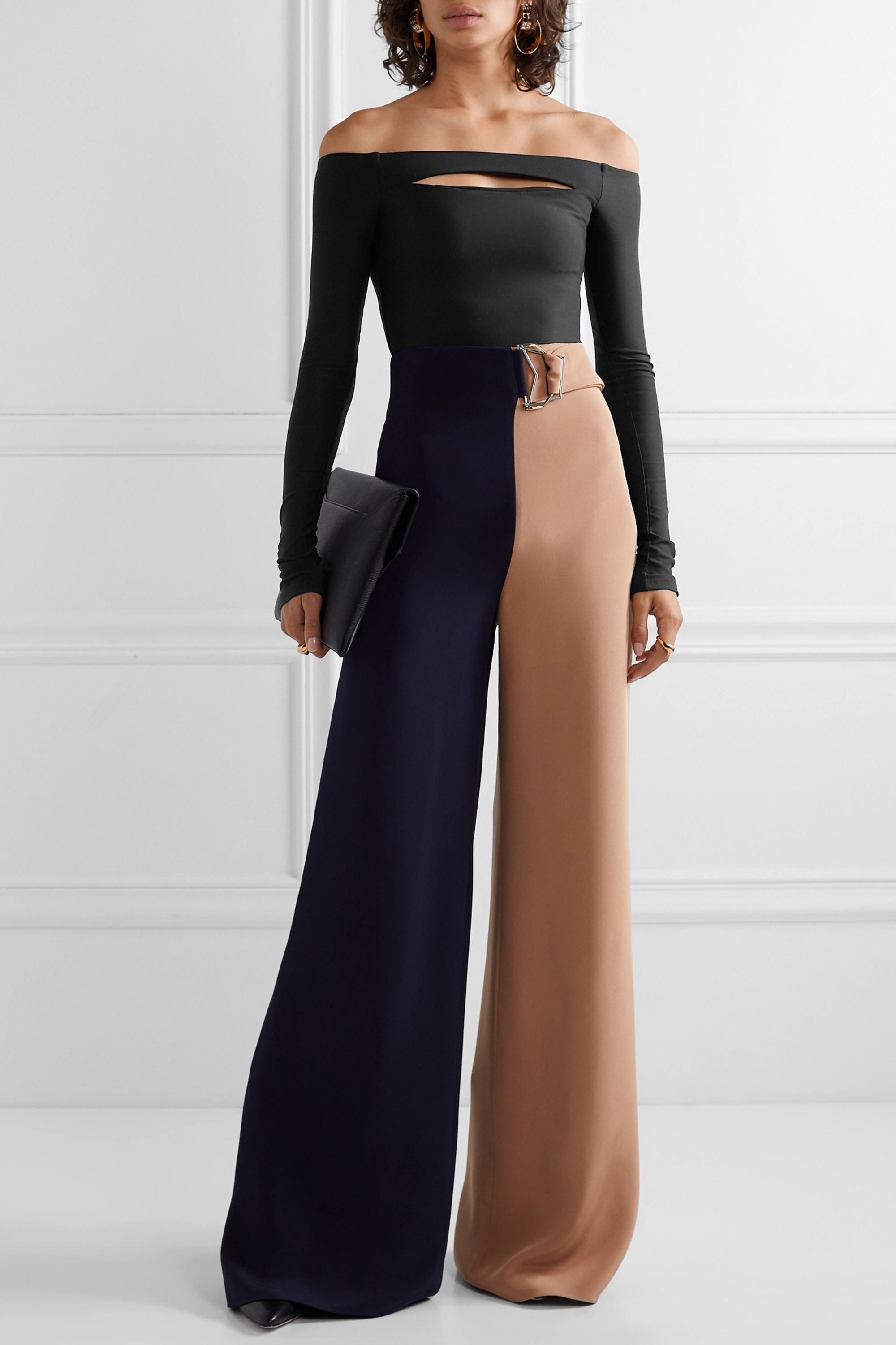 Alix NYC Vesey off-the-shoulder cutout stretch-jersey thong bodysuit