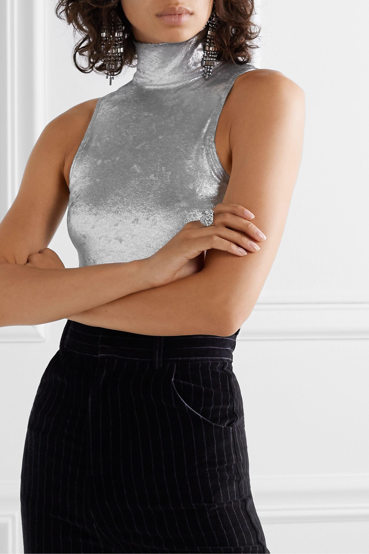 Alix NYC Cannon metallic stretch-crushed velvet turtleneck thong bodysuit