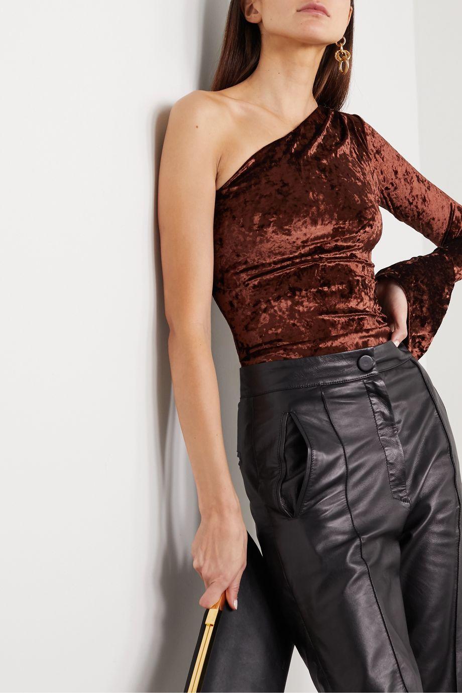 Alix NYC Halsey one-sleeve stretch-crushed velvet thong bodysuit