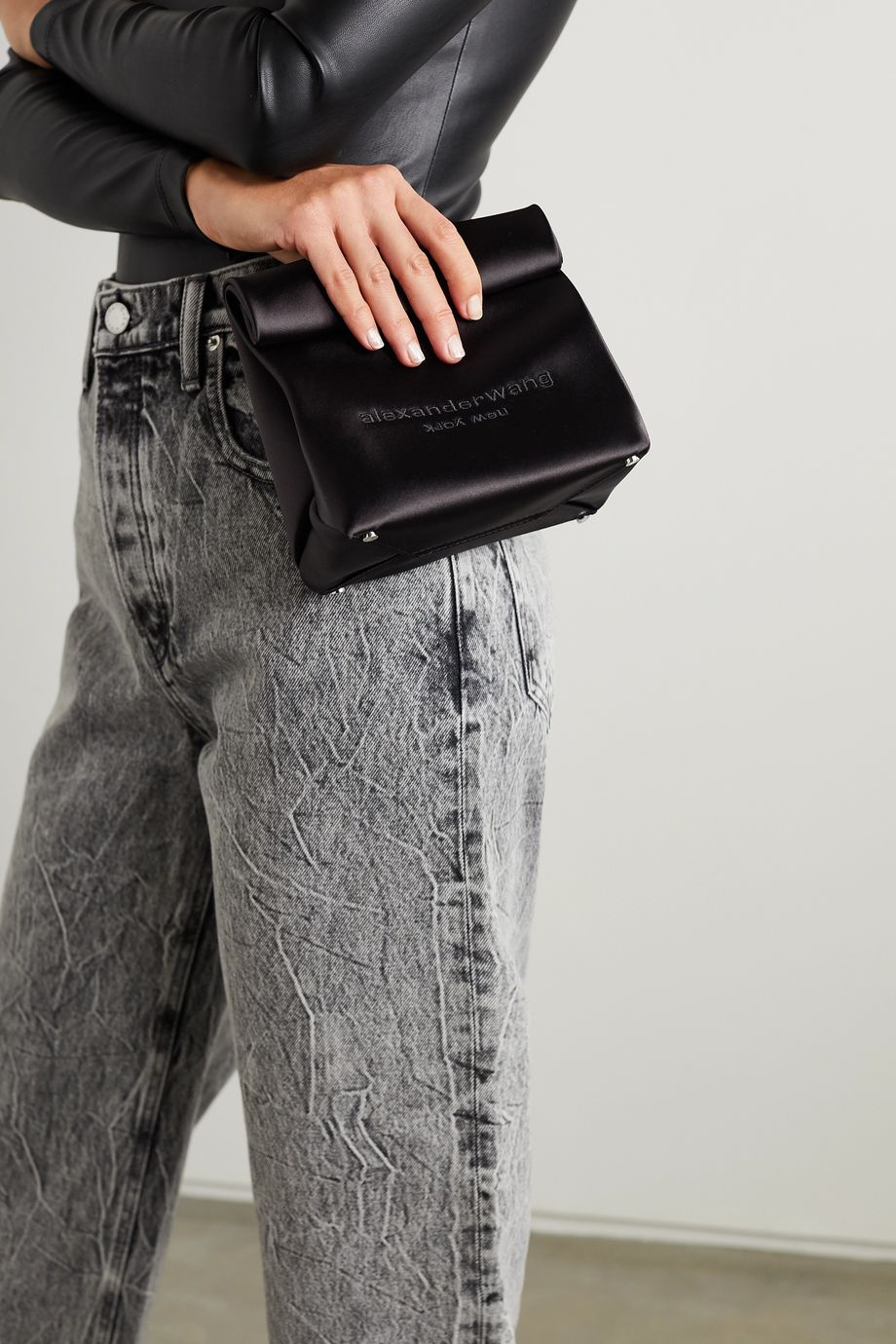 Alexander Wang Lunch Bag embroidered satin clutch