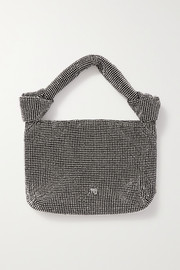 Wangloc knotted crystal-embellished mesh tote