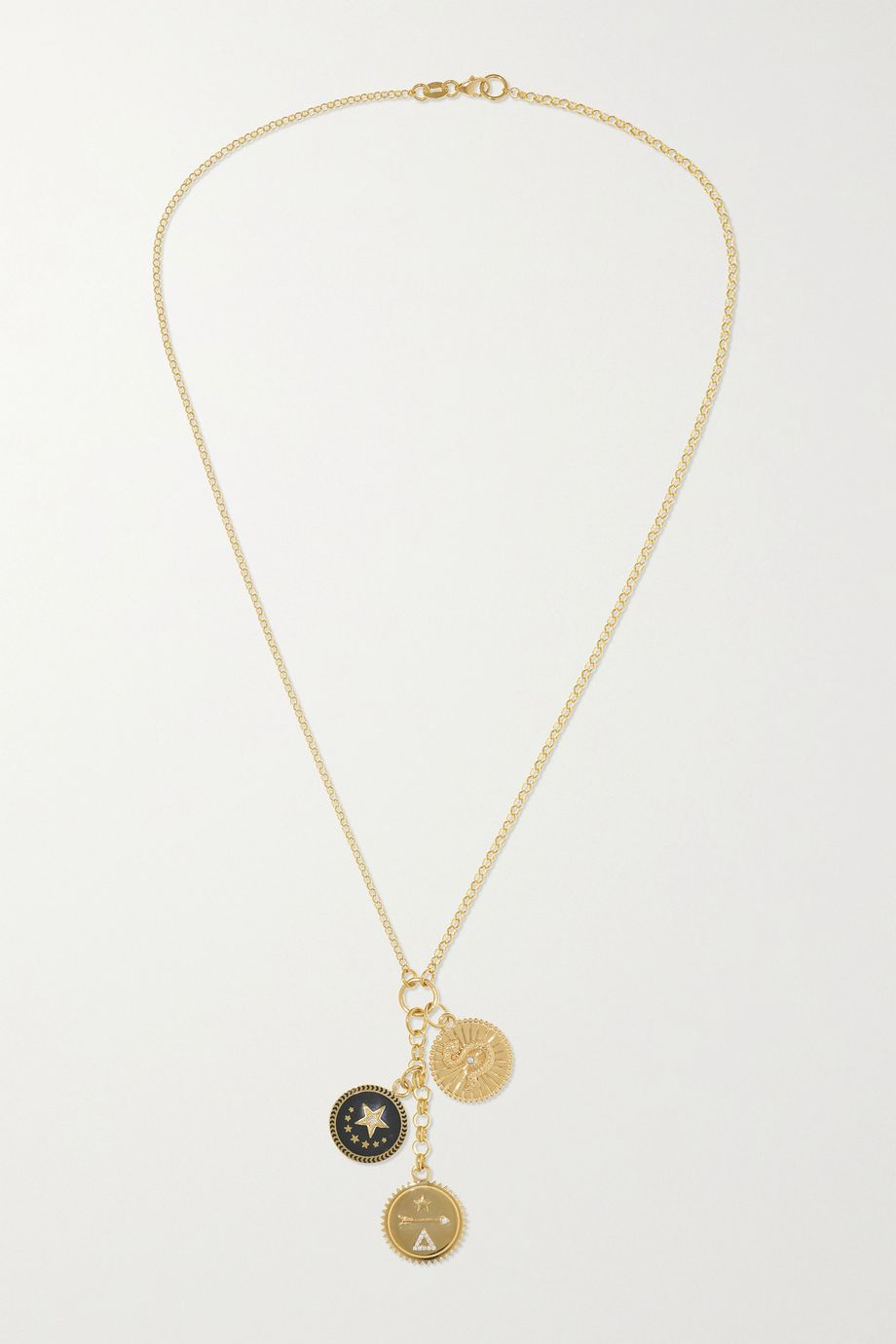 Foundrae 18-karat gold, diamond and enamel necklace