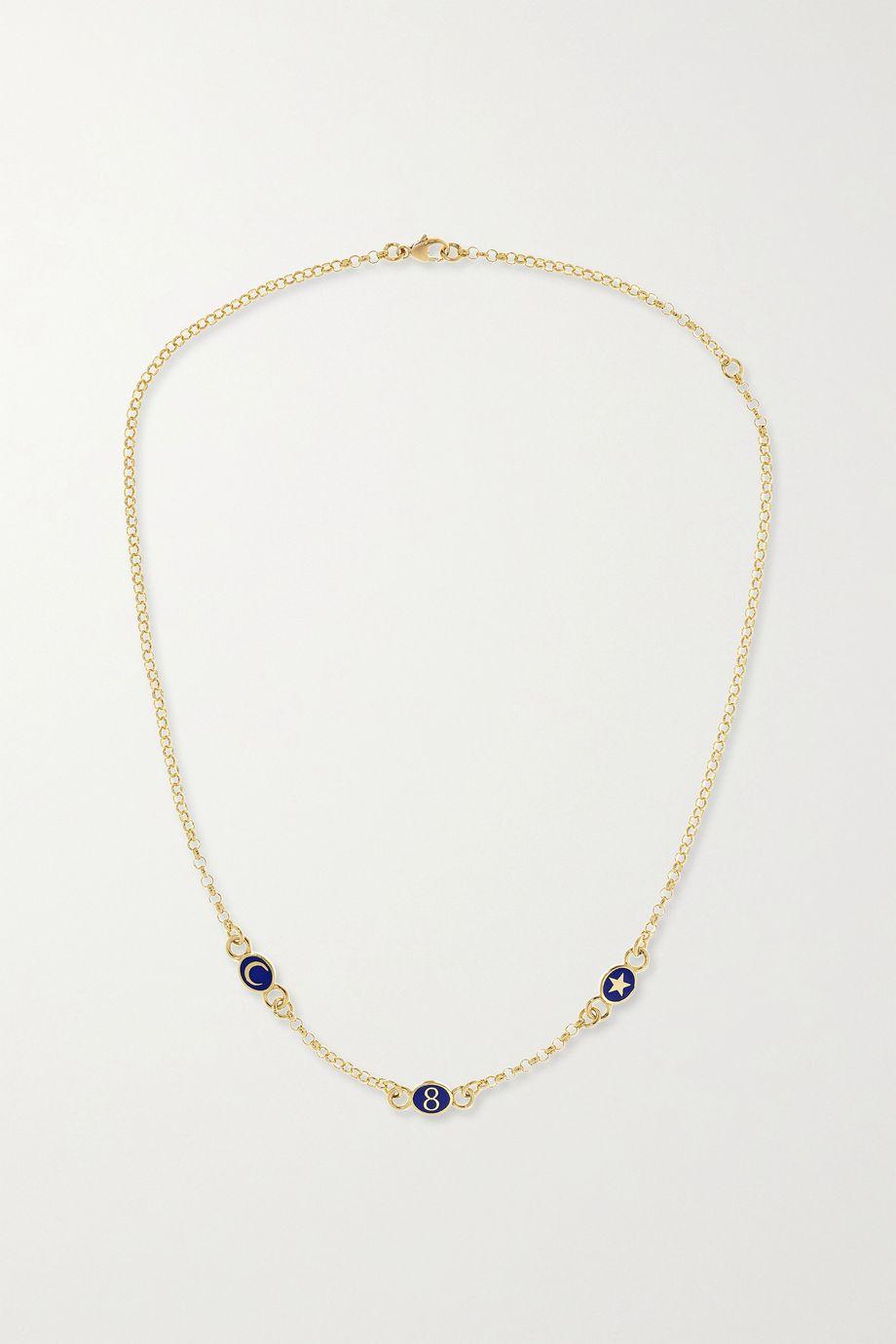 Foundrae 18-karat gold enamel necklace