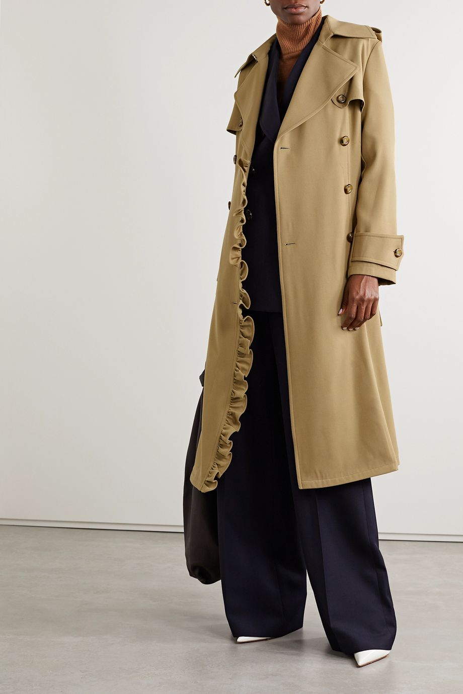 Michael Kors Collection Belted ruffled wool-gabardine trench coat