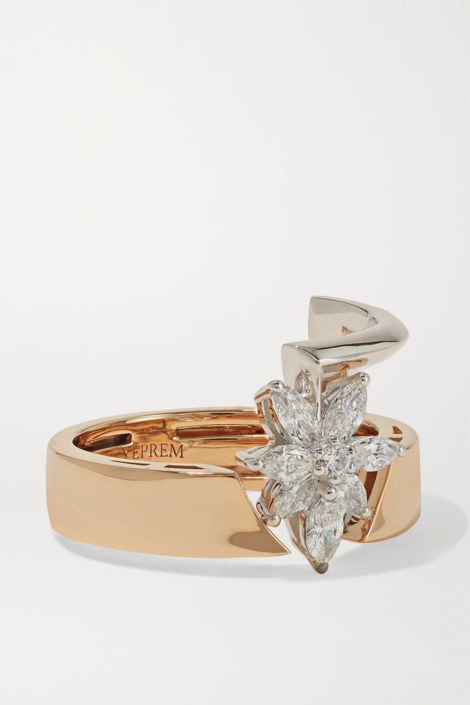 YEPREM 18-karat rose and white gold diamond ring