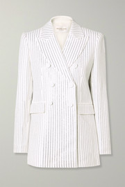 Michael Kors Collection Double-breasted crystal-embellished crepe blazer