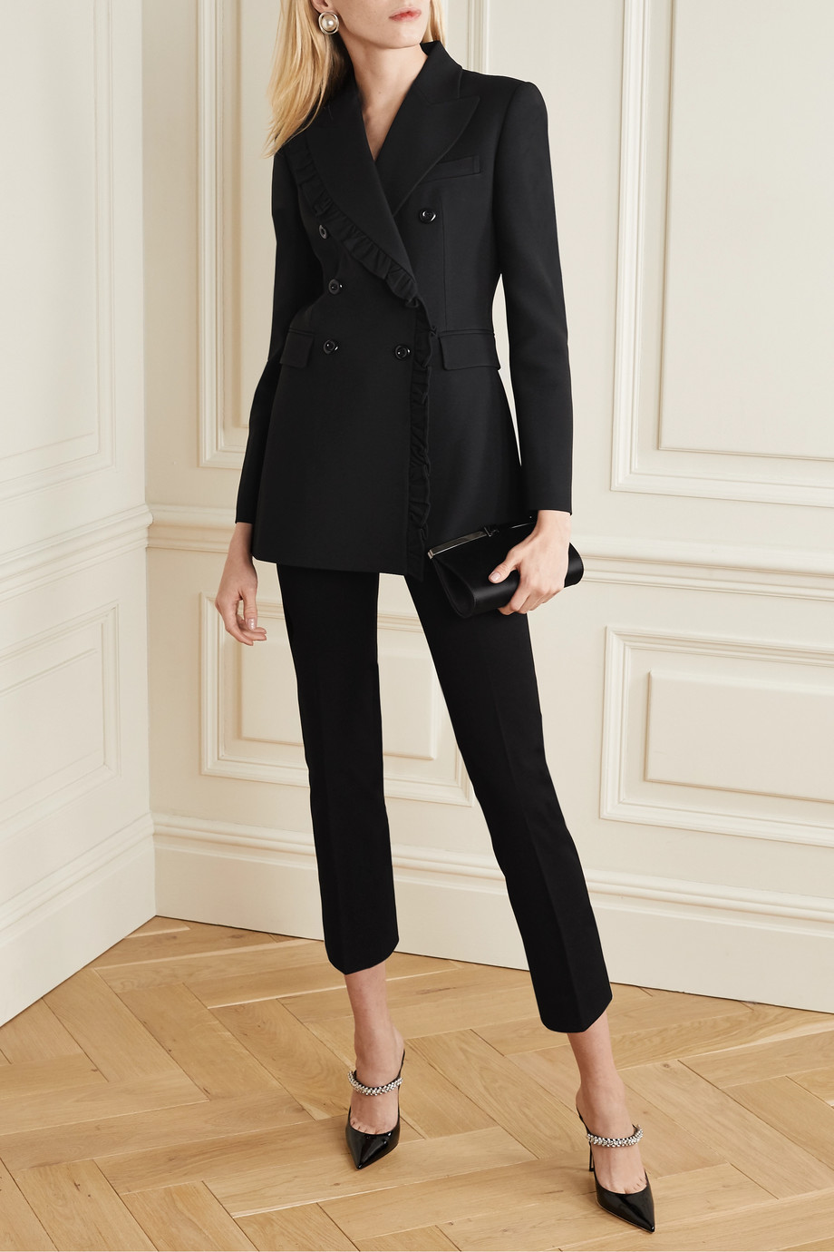 Michael Kors Collection Ruffled double-breasted crepe blazer