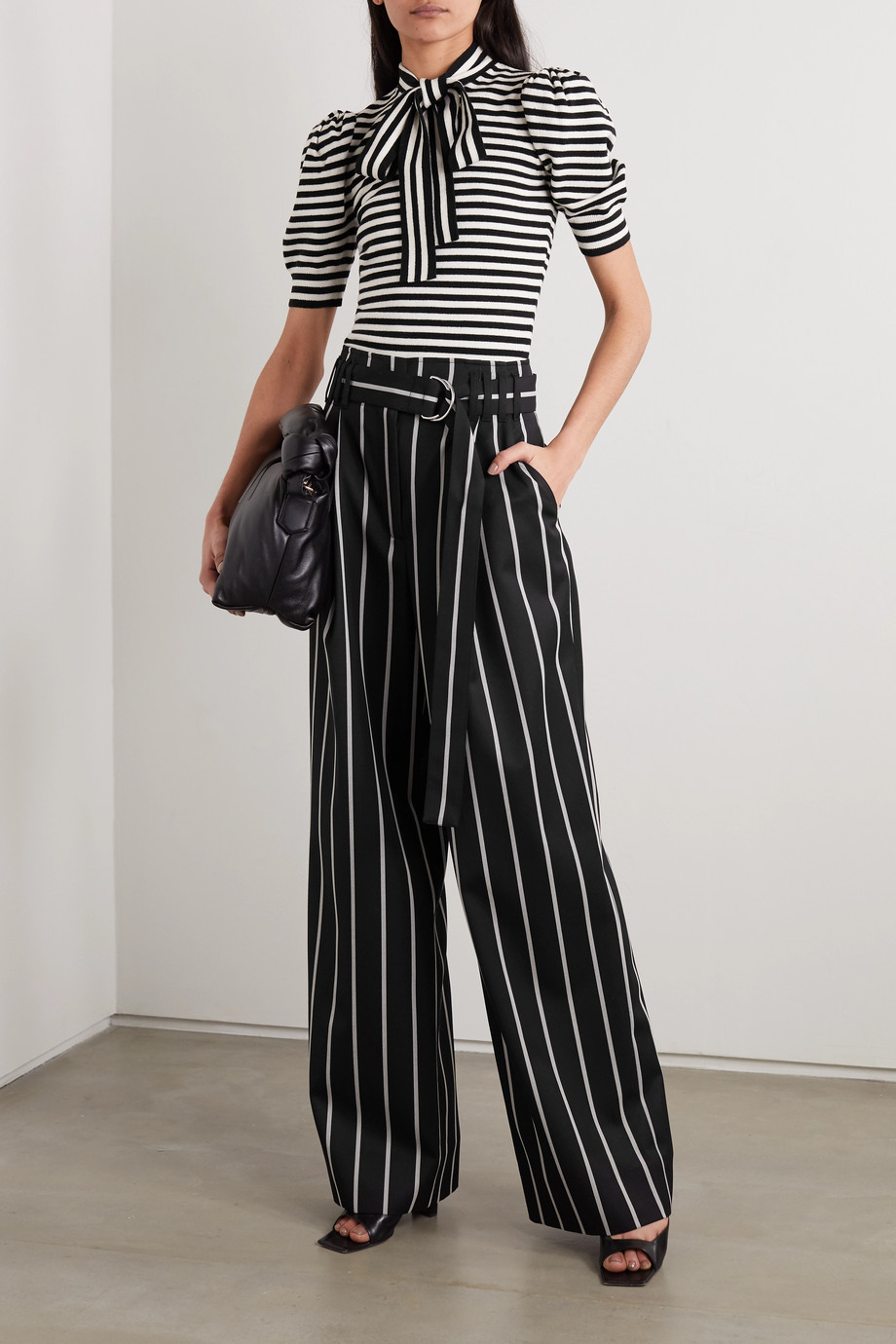 Michael Kors Collection Pussy-bow striped cashmere-blend top
