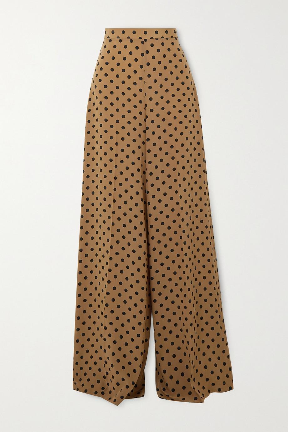 Michael Kors Collection Polka-dot silk crepe de chine wide-leg pants