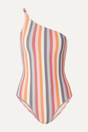 Peony One-shoulder striped swimsuit