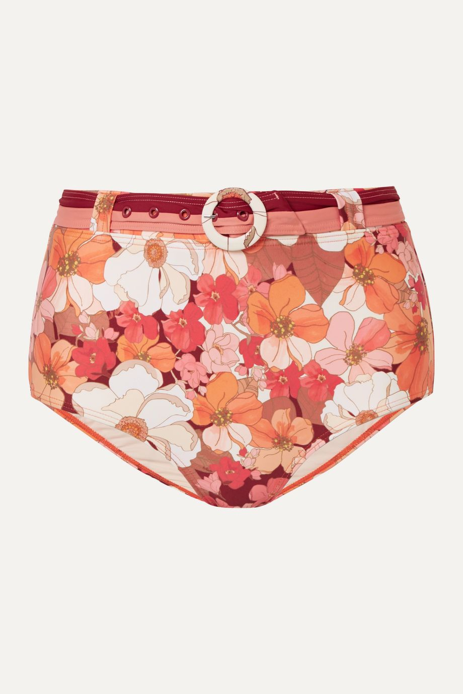 Peony + NET SUSTAIN belted floral-print bikini briefs