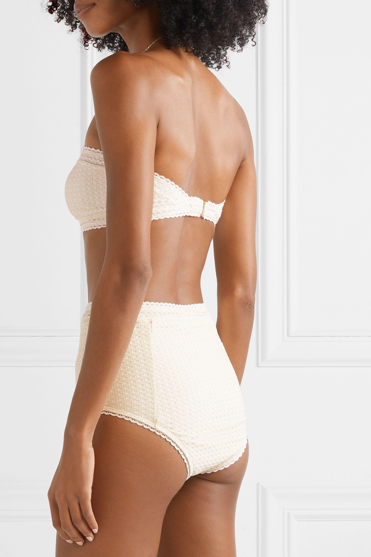 Peony + NET SUSTAIN Wicker metallic crochet-knit bikini briefs