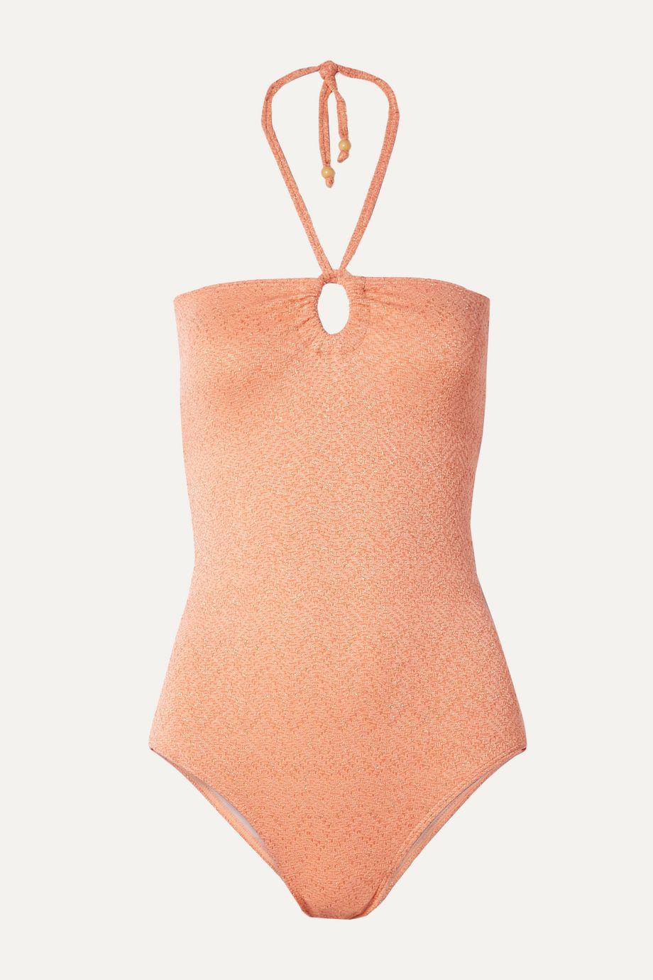 Peony + NET SUSTAIN metallic cutout halterneck swimsuit