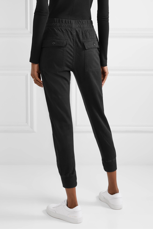 James Perse Jersey-trimmed cotton-gabardine track pants