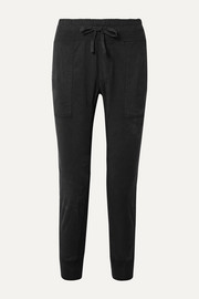 James Perse Jersey-trimmed cotton-gabardine track pants