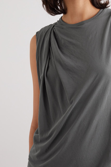 Draped cotton-jersey dress