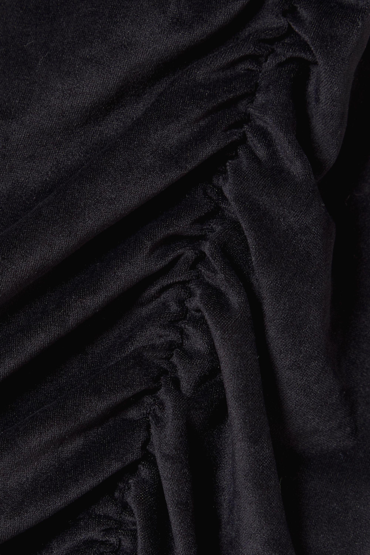 James Perse Gathered stretch-velvet midi dress