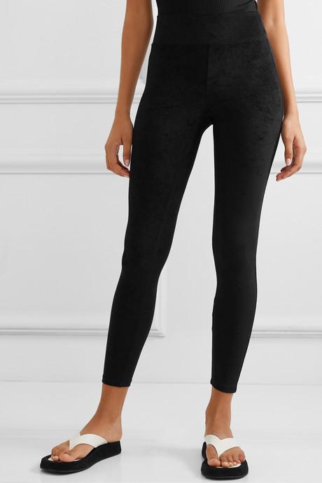 Stretch-velvet leggings
