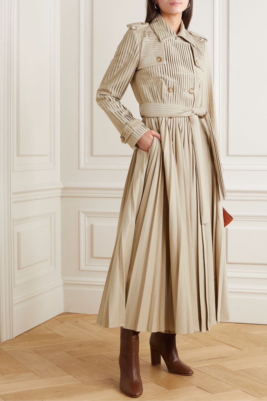 Gabriela Hearst Stein pleated cotton-poplin trench coat