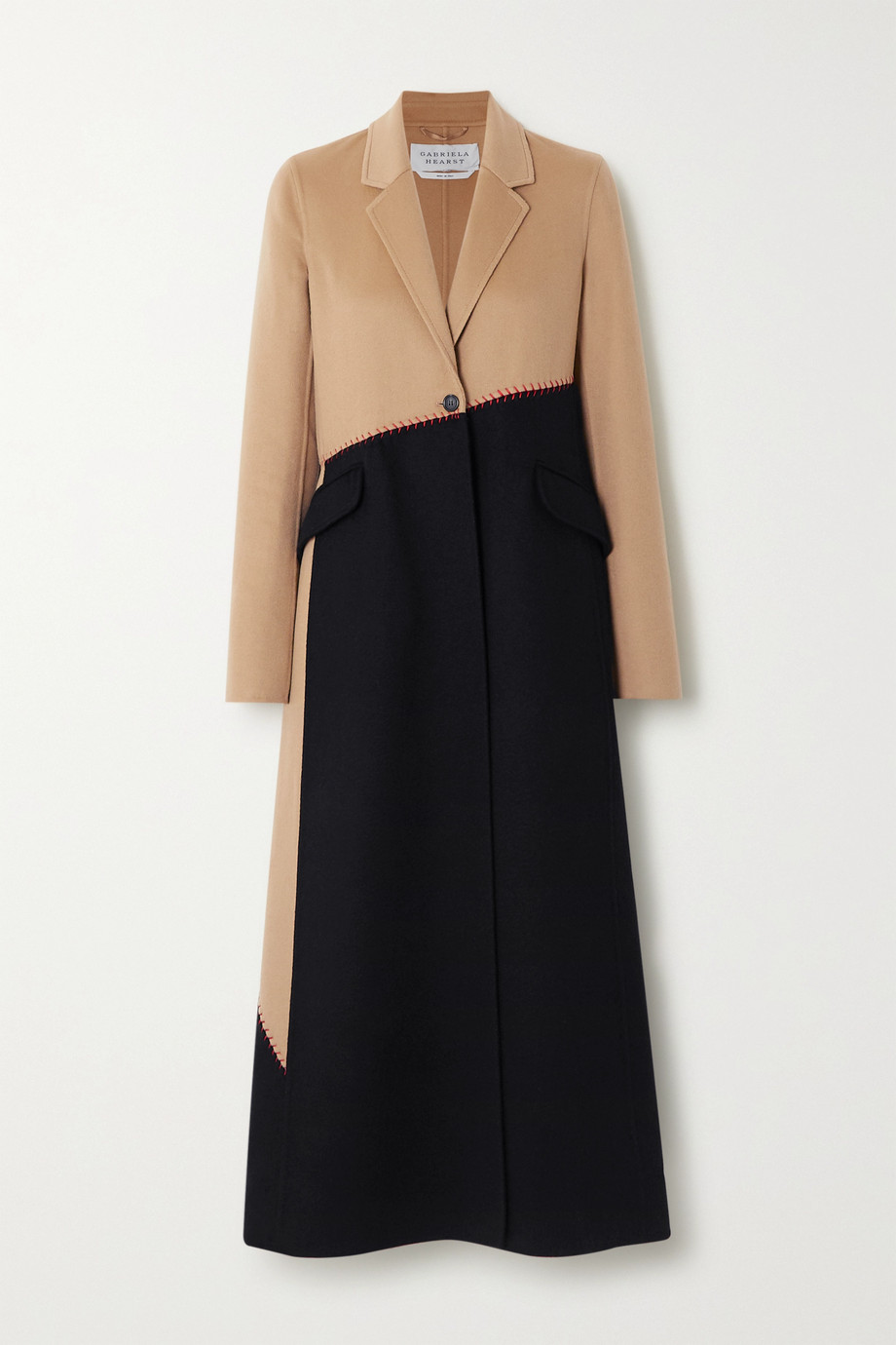 Gabriela Hearst Hamill whipstitched two-tone cashmere coat
