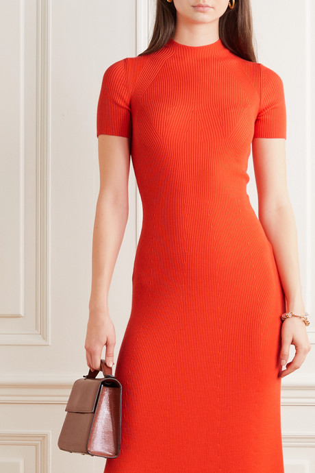 Clare ribbed wool midi dress