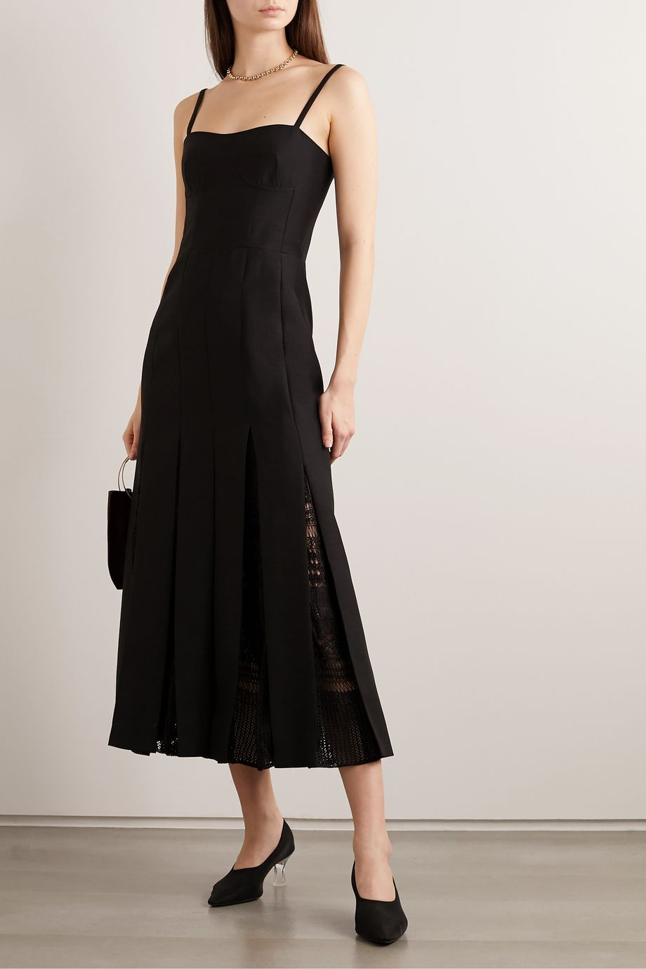 Gabriela Hearst Godard macramé-trimmed wool and silk-blend midi dress