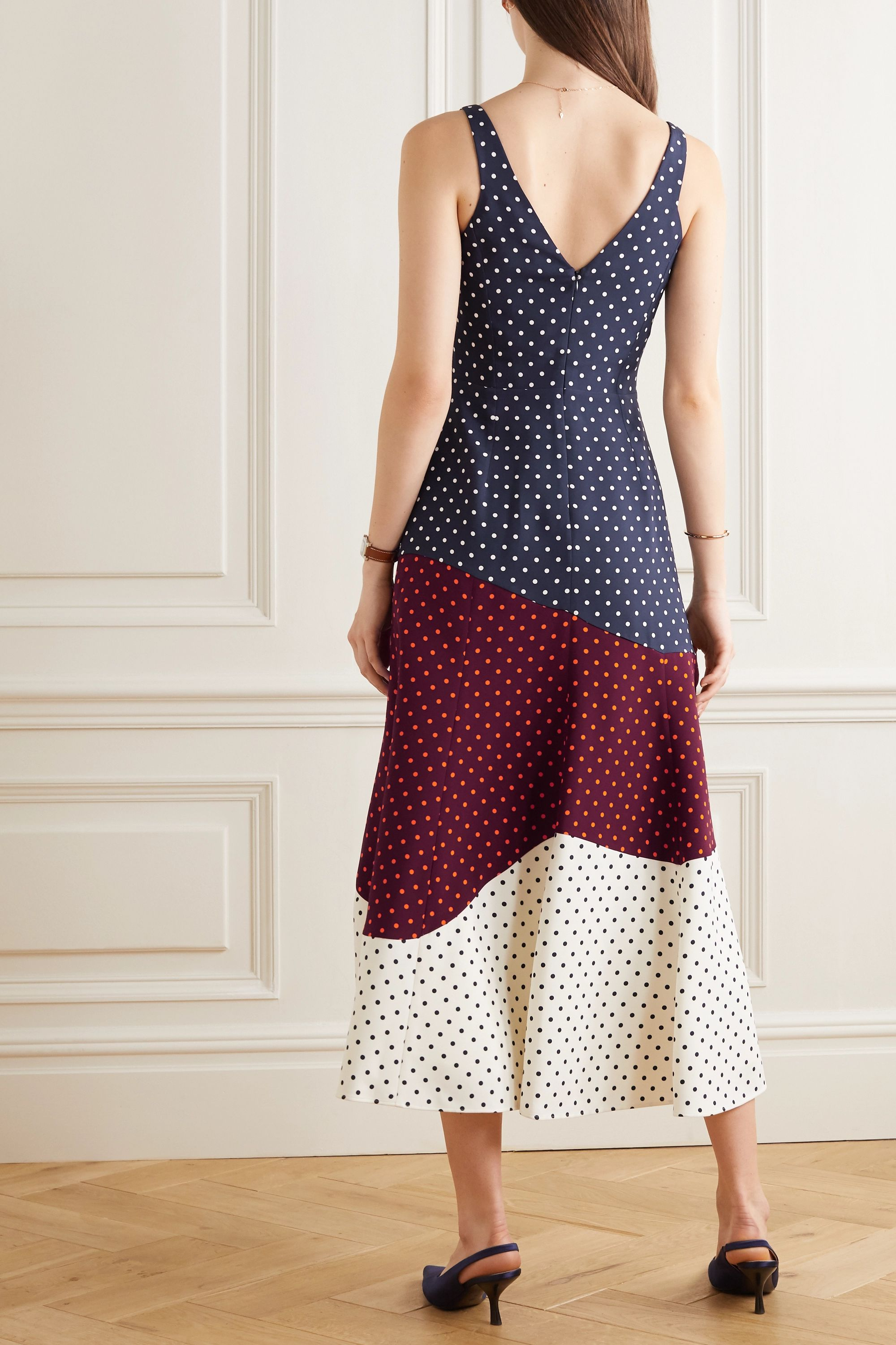 Gabriela Hearst Elliot paneled polka-dot silk and wool-blend midi dress